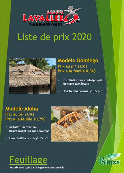 Feuilles de palmiers - Liste de prix 2020