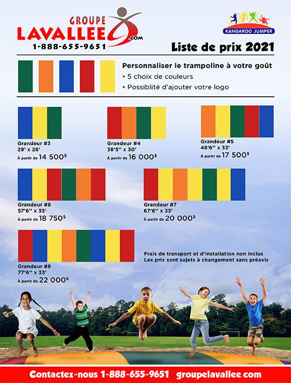 Liste de prix pour trampolines géantes - Groupe Lavallée